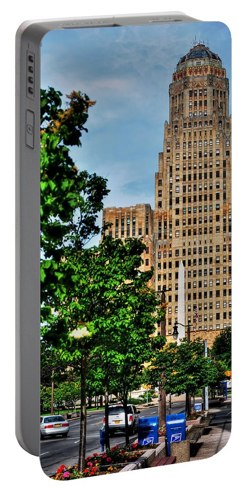 Portable Battery Charger featuring the photograph Pedestrian View Of City Hall Vert by Michael Frank Jr
