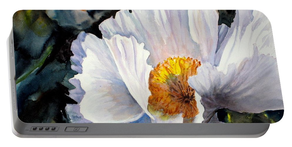 Portable Battery Charger featuring the painting Peek A Boo by Mohamed Hirji