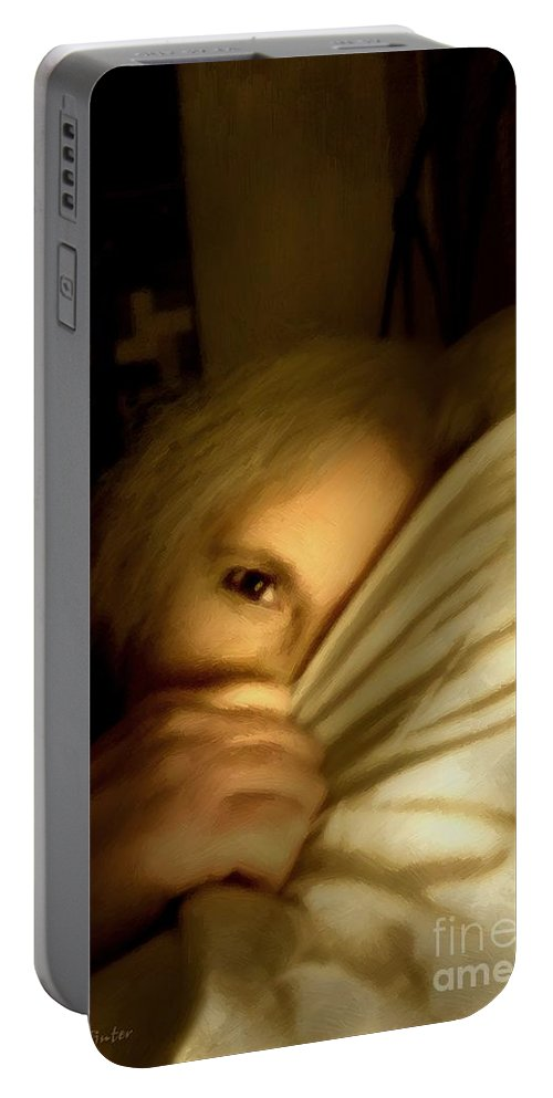 Woman Portable Battery Charger featuring the painting Peekaboo By Candlelight by RC DeWinter
