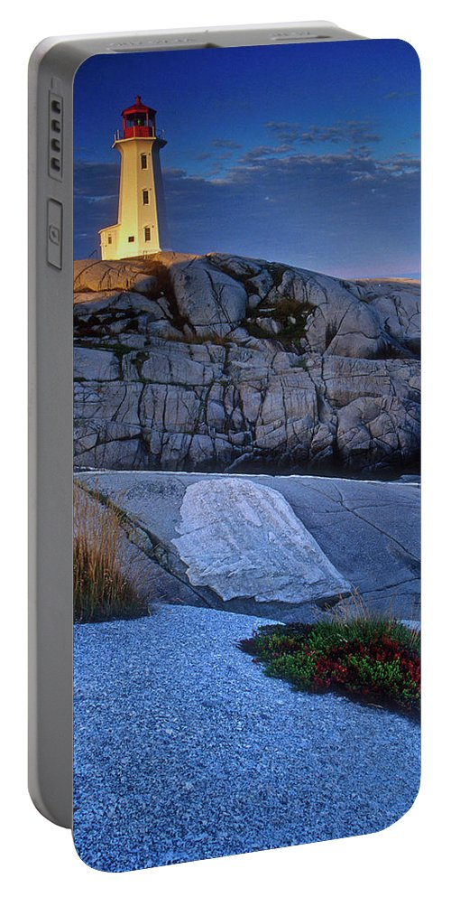 Lighthouse Portable Battery Charger featuring the photograph Peggys Cove Lighthouse Nova Scotia by Dave Mills