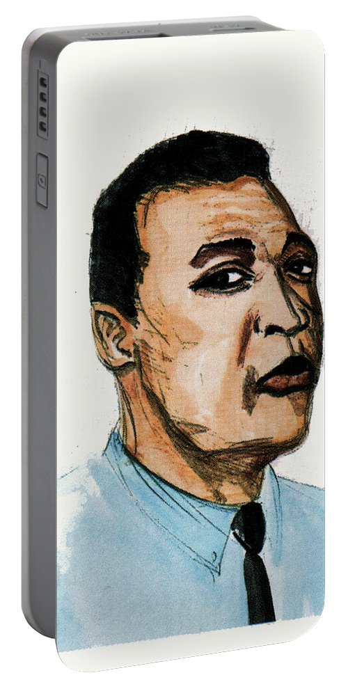 Portraits Portable Battery Charger featuring the painting Pele by Emmanuel Baliyanga