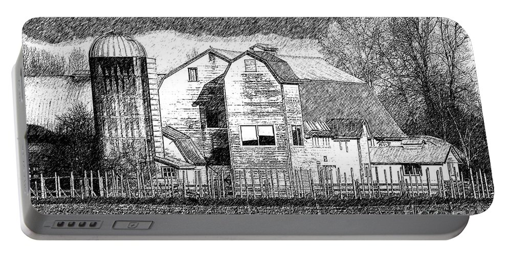 Old Barns Portable Battery Charger featuring the photograph Pencil Sketch Barn by Randy Harris