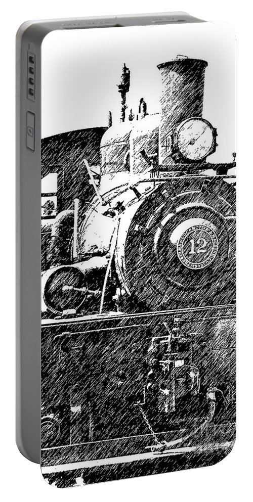 Trains Portable Battery Charger featuring the photograph Pencil Sketch Locomotive by Randy Harris