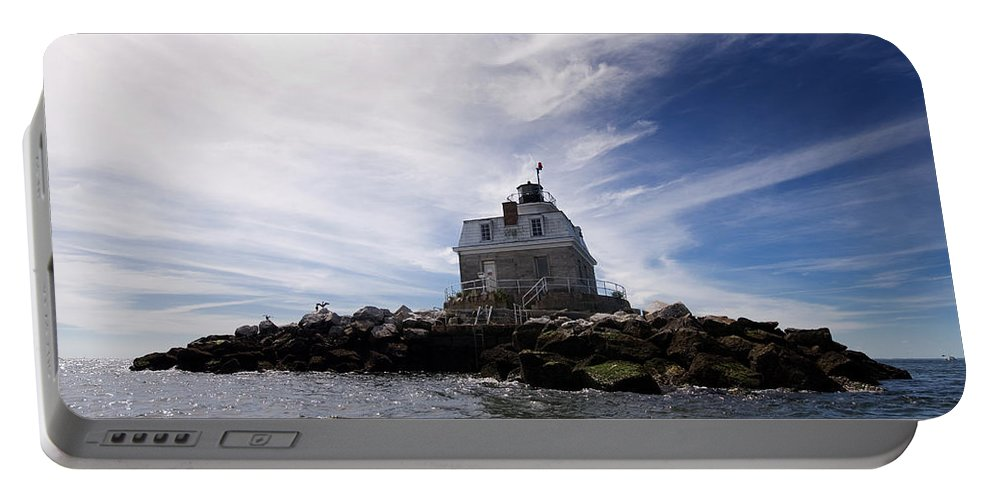 Lighthouse Portable Battery Charger featuring the photograph Penfield Reef Lighthouse by Stephanie McDowell