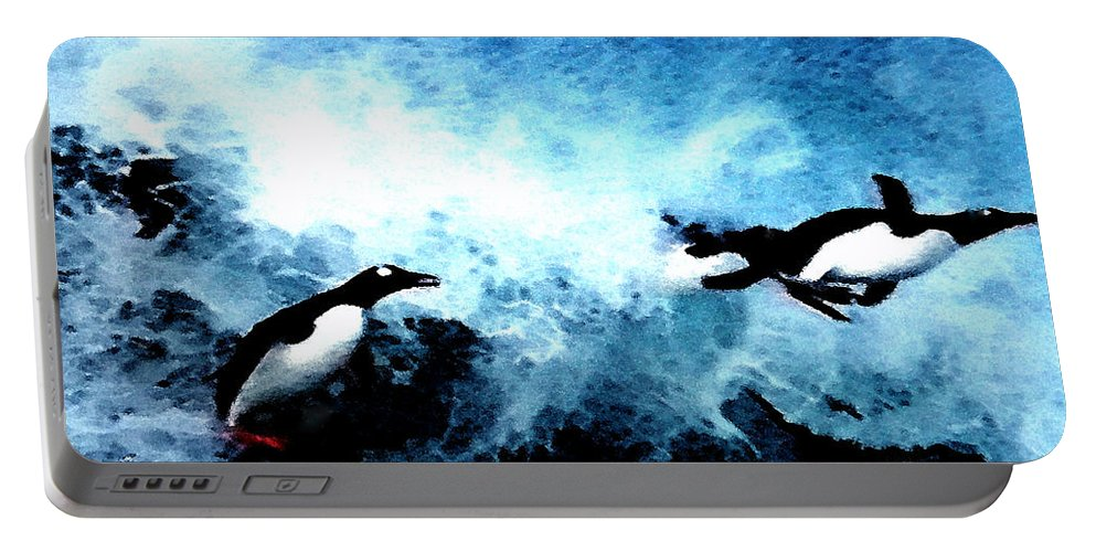 Colette Portable Battery Charger featuring the painting Penquin Joy Play In Huge Waves by Colette V Hera Guggenheim