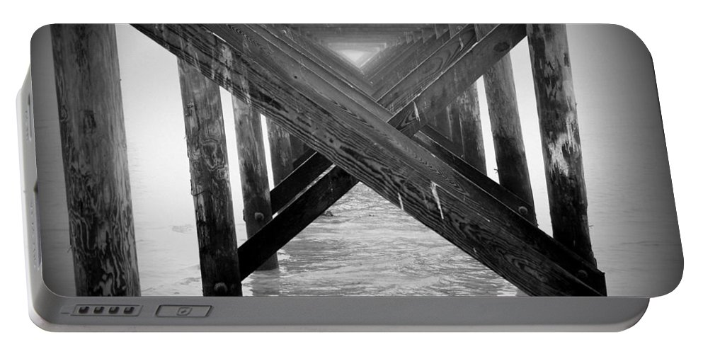 B&w Portable Battery Charger featuring the photograph Penthouse Pier by Beth Gates-Sully