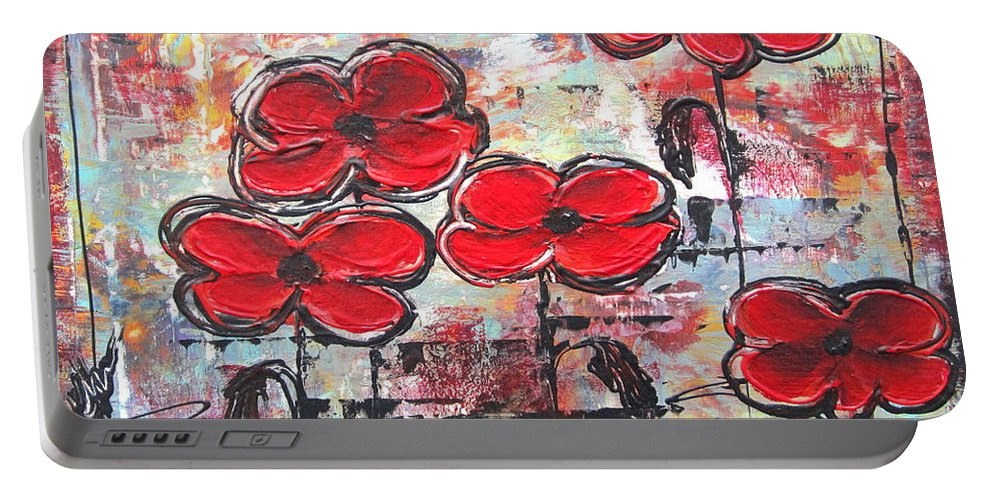 Abstract Portable Battery Charger featuring the painting Perfect Poppies by Kathy Sheeran