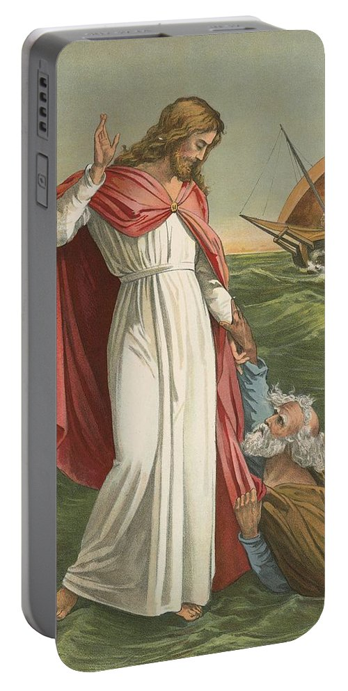 Bible; Children's; Jesus Christ; St Peter; Walking On The Water; Sea; Faith Portable Battery Charger featuring the painting Peter Walking On The Sea by English School