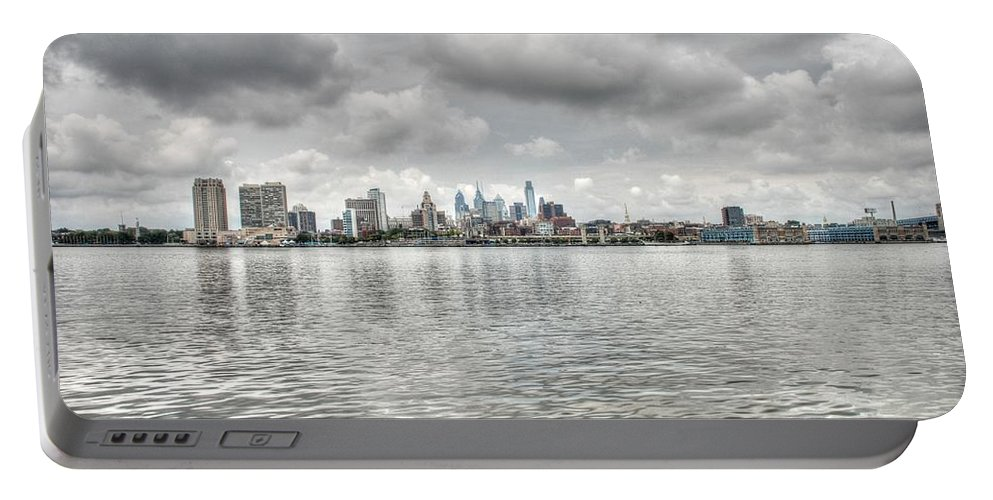 Philadelphia Portable Battery Charger featuring the photograph Philadelphia Across The Water by Jennifer Ancker