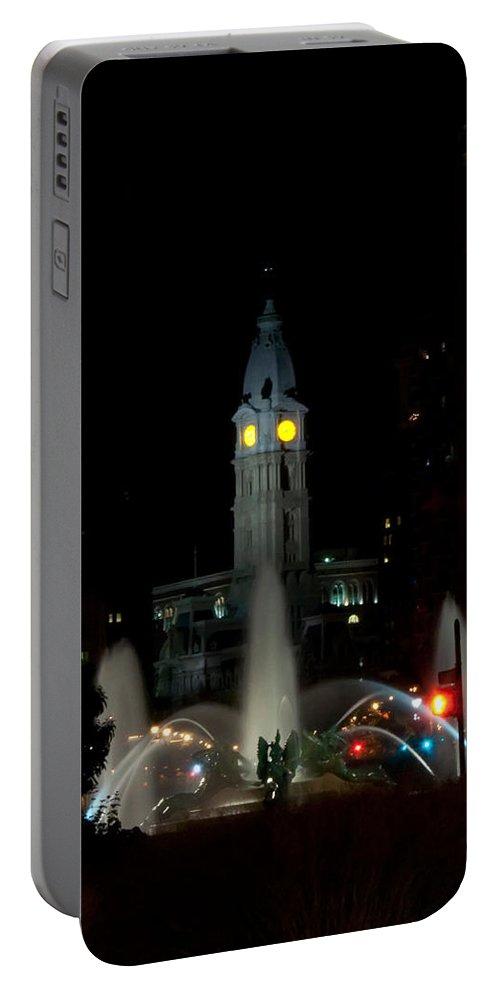 Philadelphia City Hall And Swann Fountain At Night Portable Battery Charger featuring the photograph Philadelphia City Hall And Swann Fountain At Night by Bill Cannon