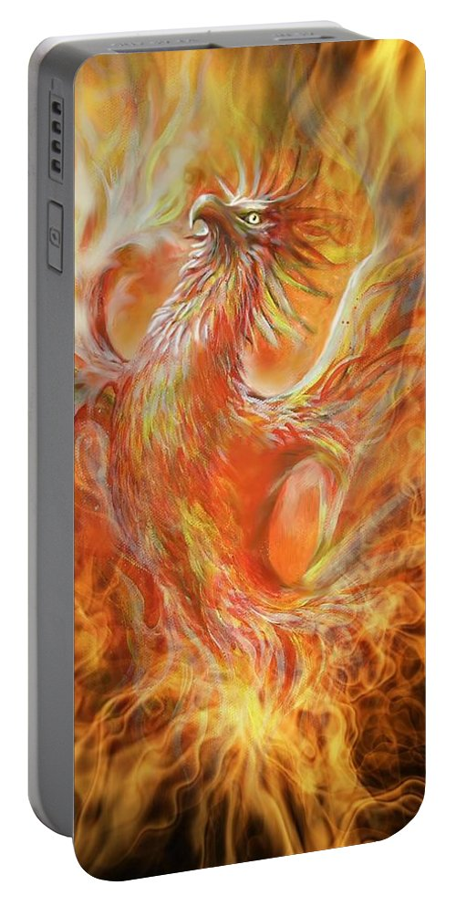 Fantasy Portable Battery Charger featuring the painting Phoenix by Penny Golledge