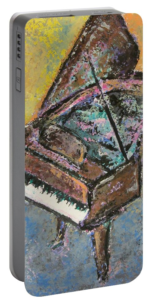 Piano Portable Battery Charger featuring the painting Piano Study 2 by Anita Burgermeister