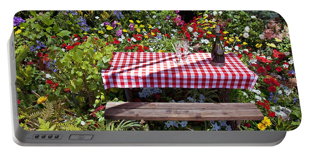 Picnic Table Portable Battery Charger featuring the photograph Picnic Table Among The Flowers by Garry Gay