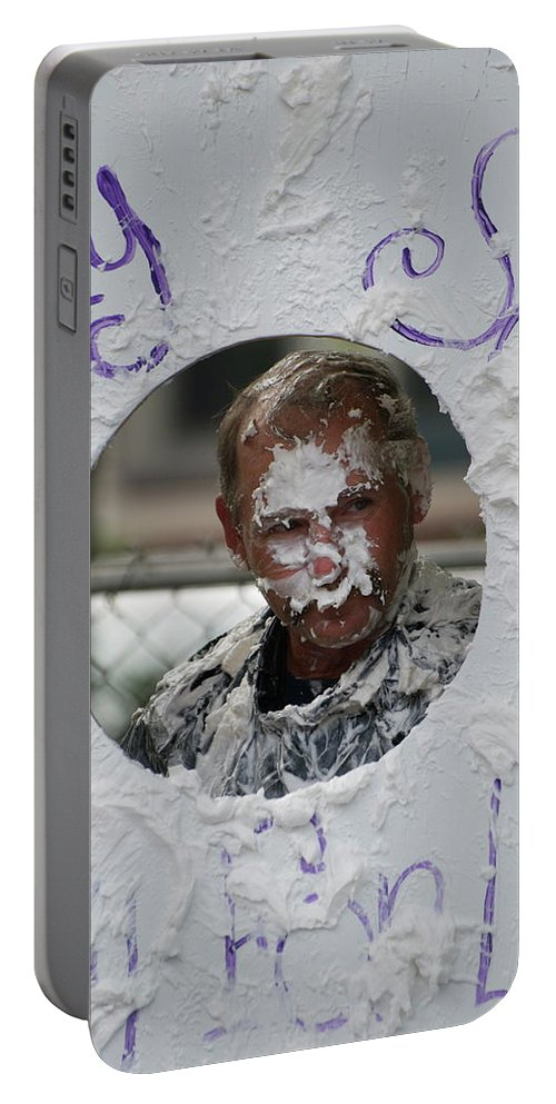 Pie In The Face Portable Battery Charger featuring the photograph Pie Tossing 03 by Thomas Woolworth