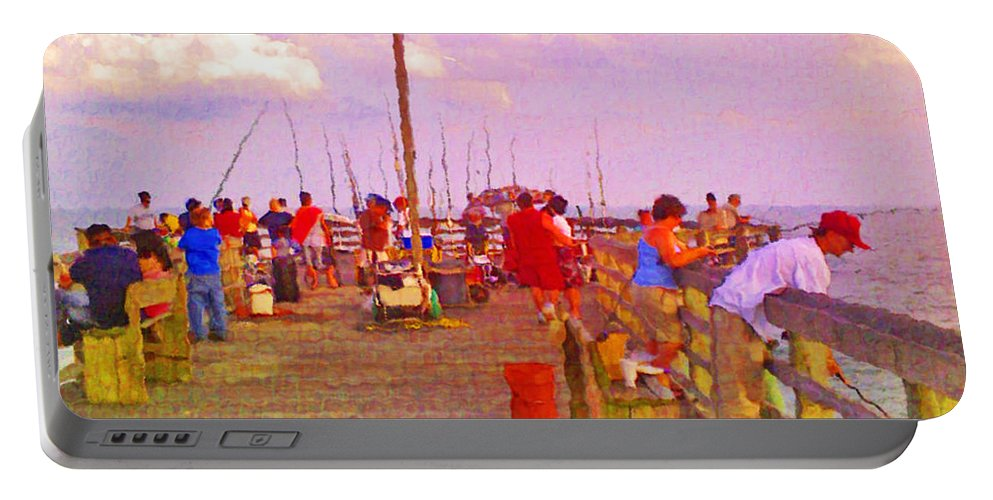Pier Portable Battery Charger featuring the photograph Pier Fishing by Scott Hervieux