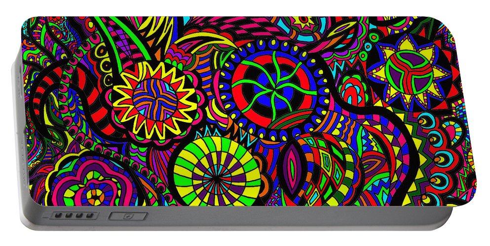 Pinball Art Portable Battery Charger featuring the painting Pinball Anyone by Karen Elzinga