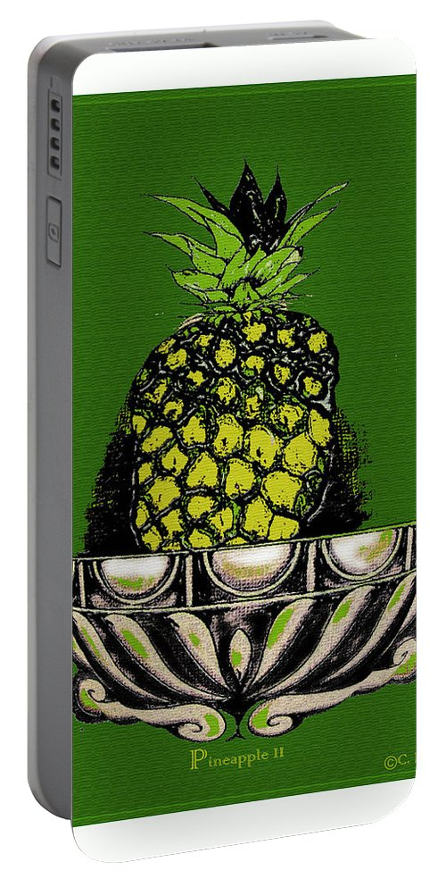 Pineapple Portable Battery Charger featuring the digital art Pineapple Study by C F Legette