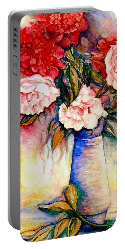 The Colors Of Quebec Portable Battery Charger featuring the painting Pink And Red Peony Roses In A Tall Blue Porcelain Vase by Carole Spandau