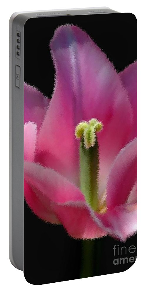 Digital Designs Portable Battery Charger featuring the photograph Pink Flower by Mark Gilman
