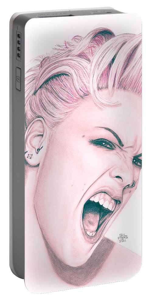 Pencil Portable Battery Charger featuring the drawing Pink by Gil Fong