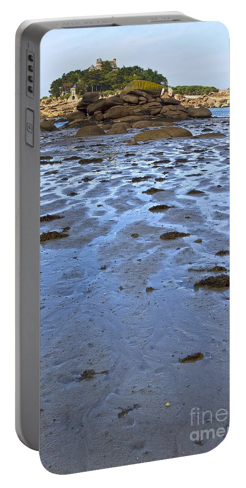 France Portable Battery Charger featuring the photograph Pink Granite Island In Low Tide by Heiko Koehrer-Wagner