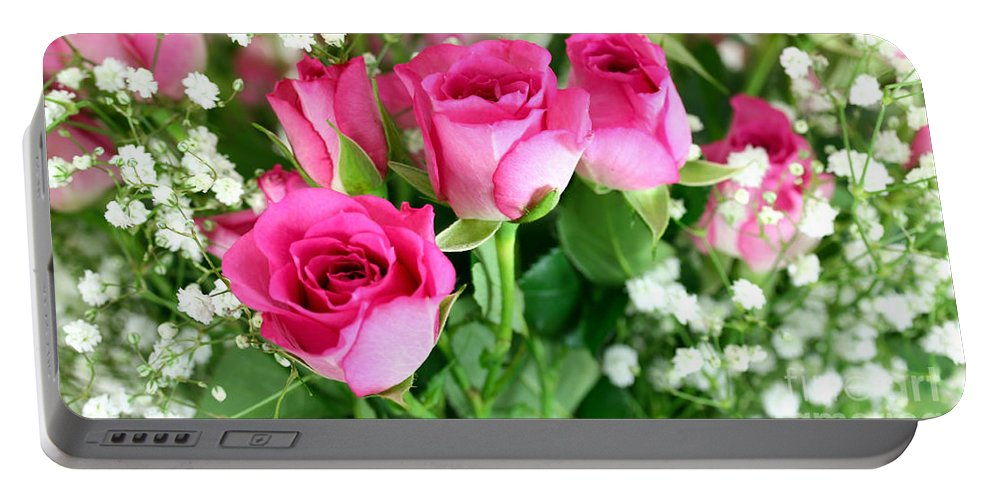 Anniversary Portable Battery Charger featuring the photograph Pink Roses And Gypsophila Bouquet by Simon Bratt Photography LRPS