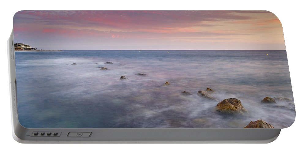 Pink Portable Battery Charger featuring the photograph Pink Seasunset by Guido Montanes Castillo