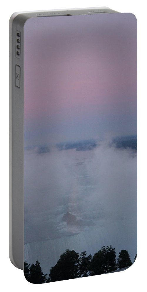 Pink Sky Portable Battery Charger featuring the photograph Pink Sky Over Niagara Falls by Christiane Schulze Art And Photography