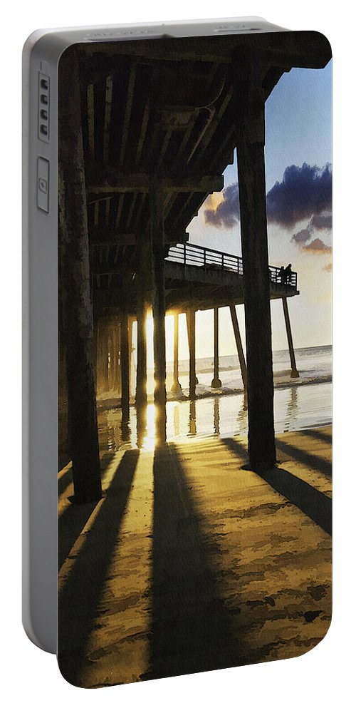 Pismo Beach Pier Portable Battery Charger featuring the digital art Pismo Pier Sunset II by Sharon Foster
