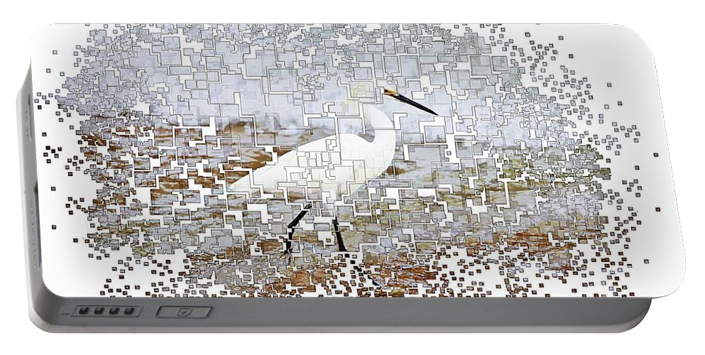 Cowbird Bird Ocean Pixellated Portable Battery Charger featuring the photograph Pixel Cowbird by Alice Gipson
