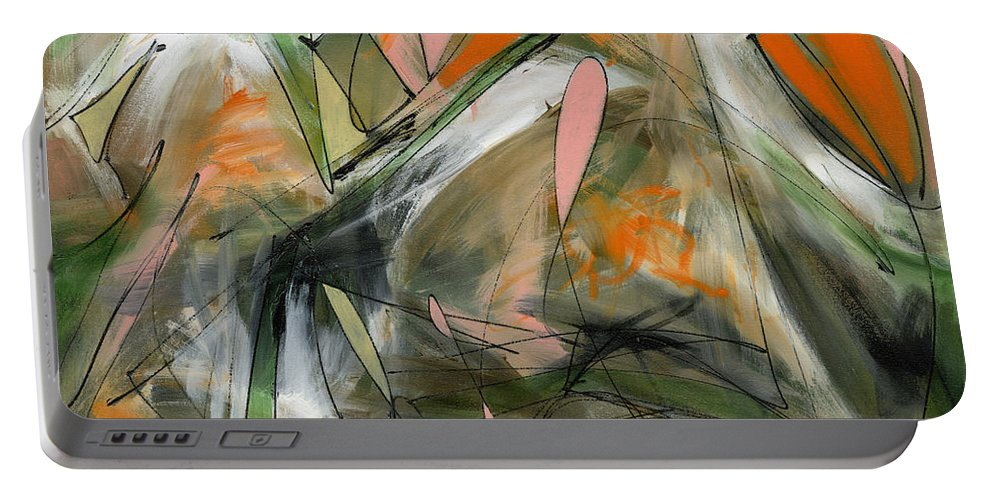 Abstract Art Portable Battery Charger featuring the painting Placating Your Friends by Lynne Taetzsch