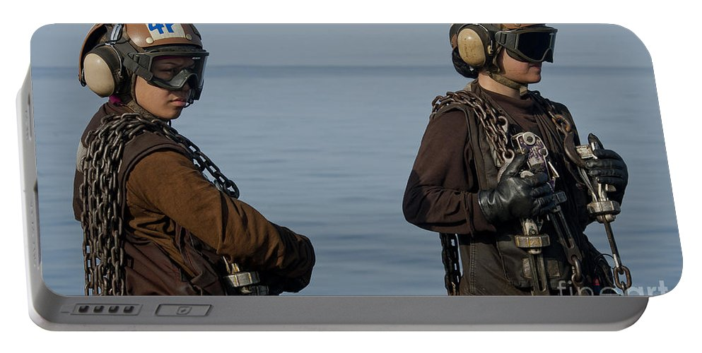 Warship Portable Battery Charger featuring the photograph Plane Captains Stand By During Aircraft by Stocktrek Images