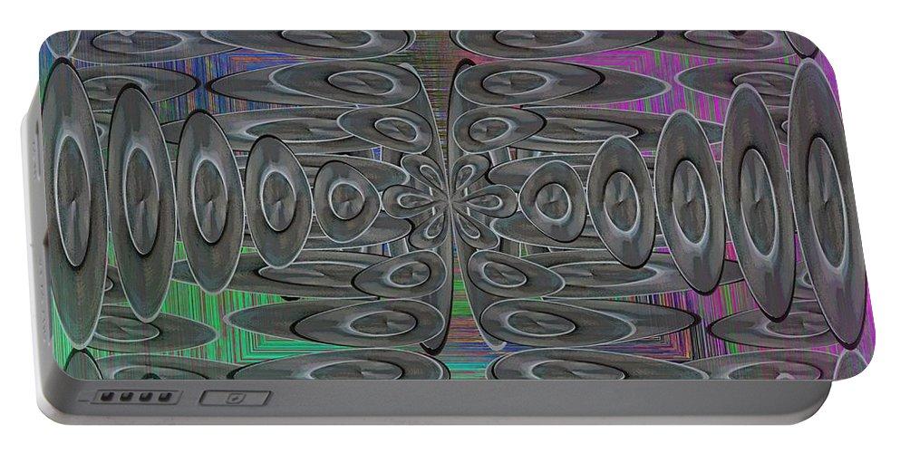 Platters Portable Battery Charger featuring the digital art Platter Pandemonium by Tim Allen