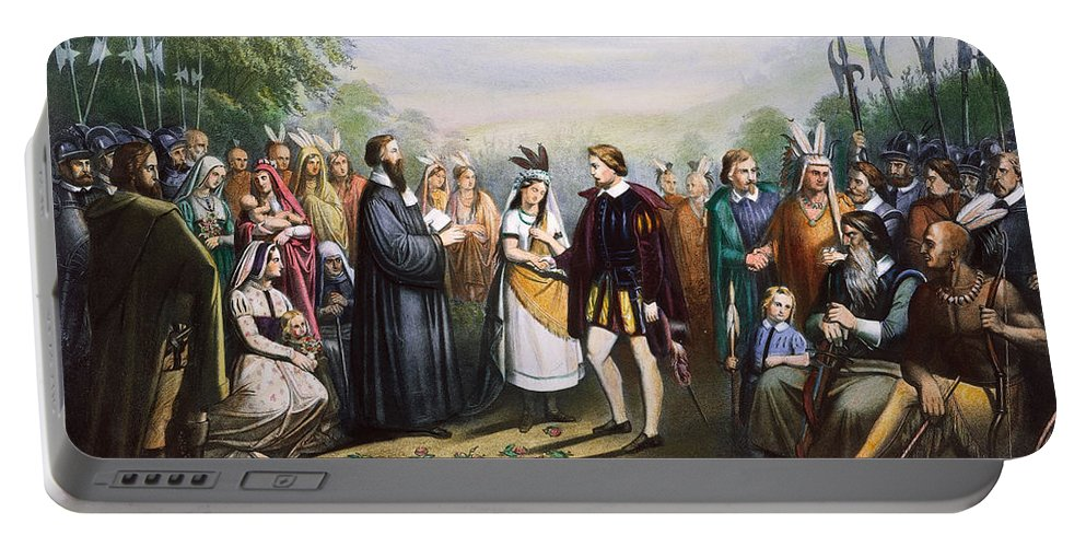 1614 Portable Battery Charger featuring the photograph Pocahontas & John Rolfe by Granger