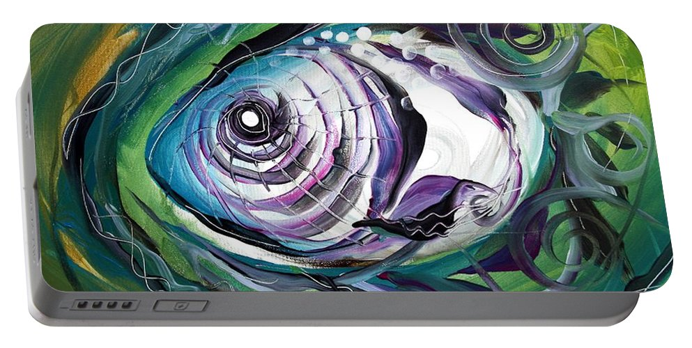 Fish Portable Battery Charger featuring the painting Poetic Chaos by J Vincent Scarpace
