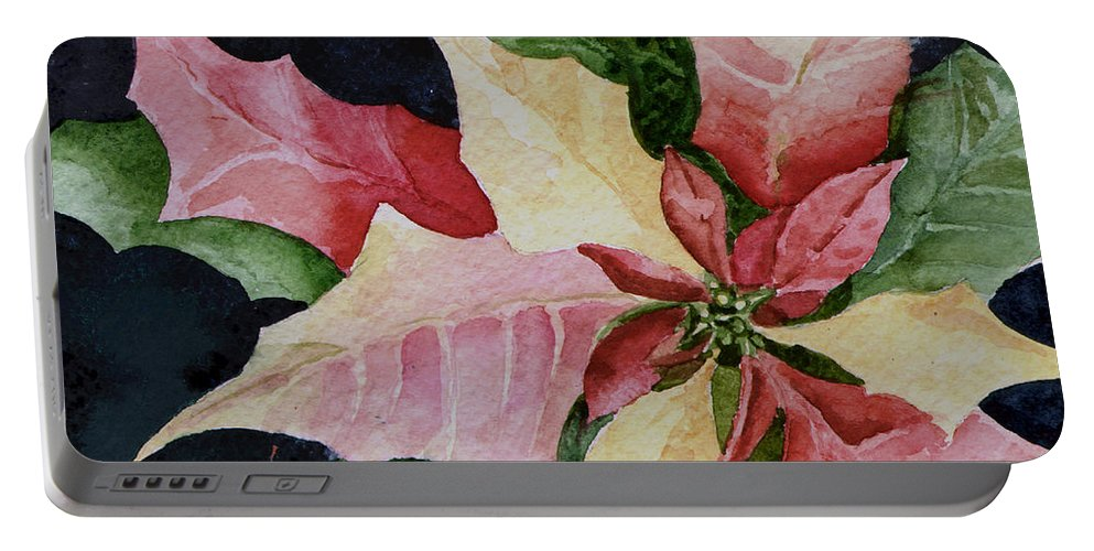 Flower Portable Battery Charger featuring the painting Poinsettia by Sam Sidders