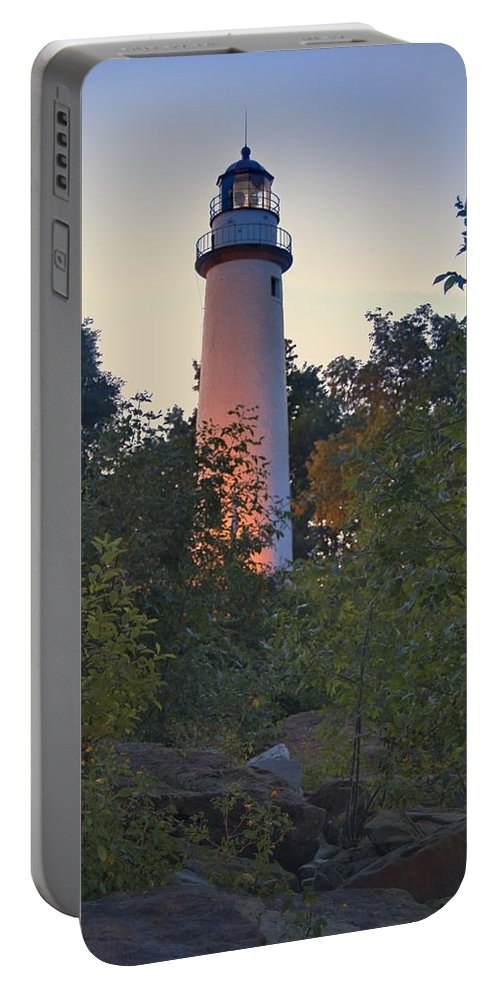 Aux Portable Battery Charger featuring the photograph Pointe Aux Barques Lighthouse 7072 by Michael Peychich
