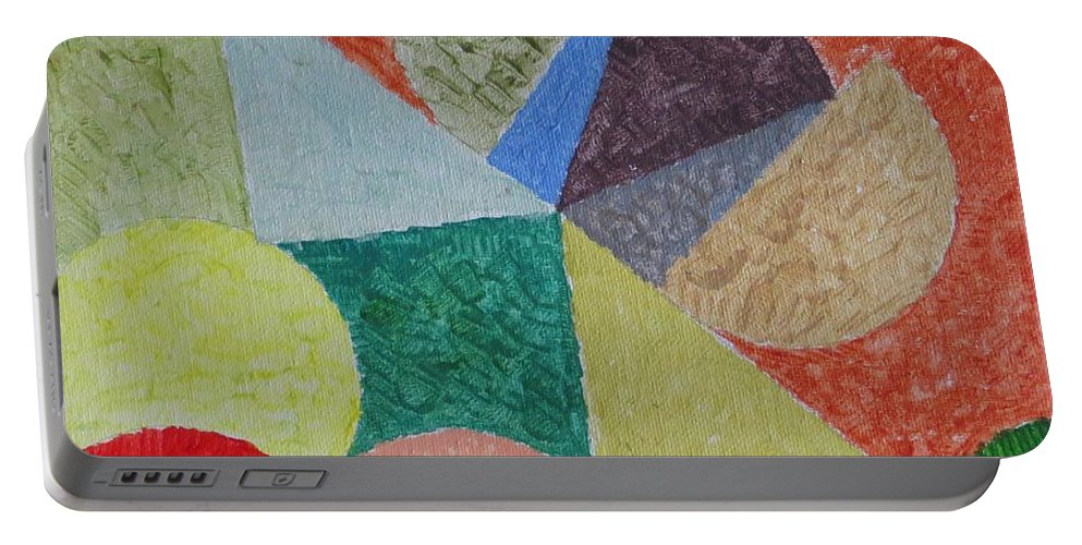 Fusion Of Colours In Shapes Portable Battery Charger featuring the painting Polychrome by Sonali Gangane