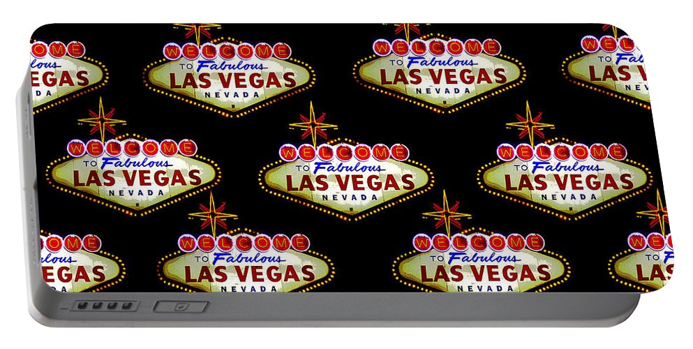 Las Vegas Sign Portable Battery Charger featuring the painting Pop Vegas by David Lee Thompson