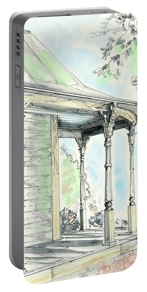 Victorian House Portable Battery Charger featuring the drawing Porch Time by Lizi Beard-Ward
