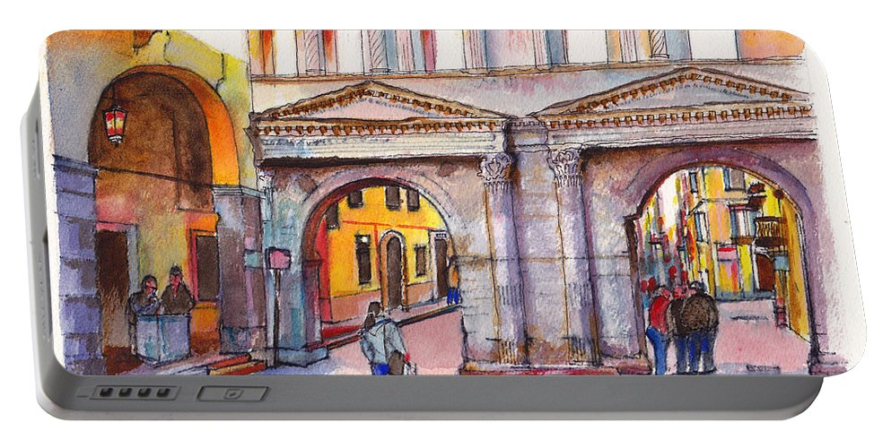 Italy Portable Battery Charger featuring the painting Porta Borsari Verona First Century Ad Roman Gate by Dai Wynn