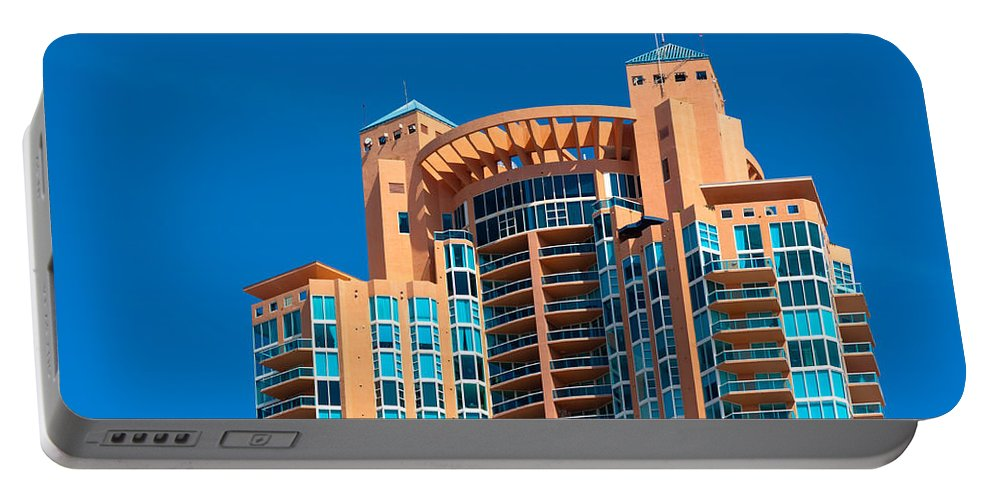 Architecture Portable Battery Charger featuring the photograph Portofino Tower At Miami Beach by Ed Gleichman