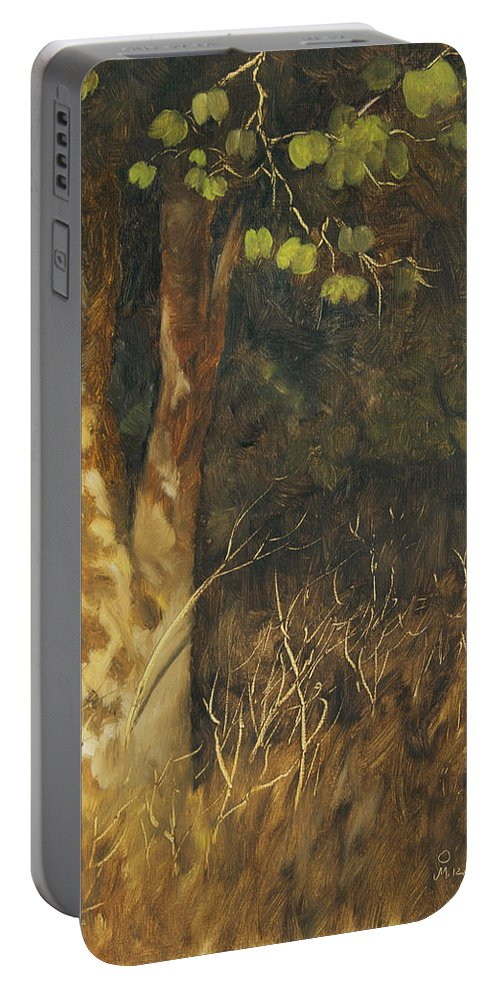 Grass Portable Battery Charger featuring the painting Portrait Of A Tree Trunk by Mandar Marathe