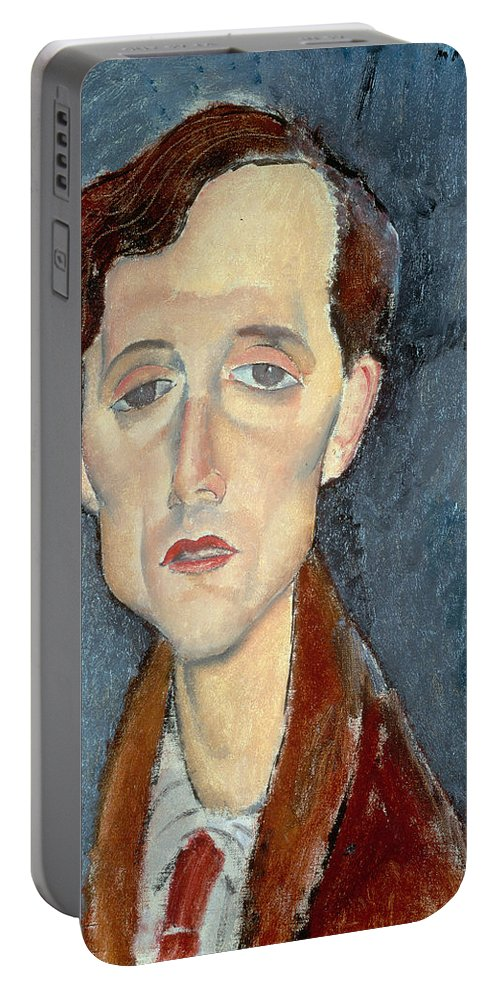 Frans; Male; Sad; Melancholy; Depressed Portable Battery Charger featuring the painting Portrait Of Franz Hellens by Modigliani