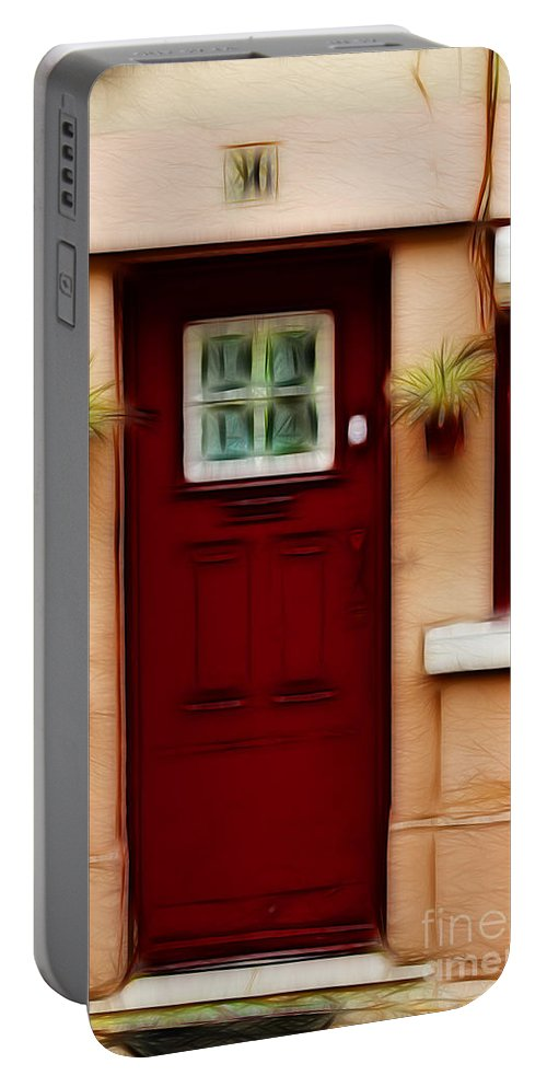 Door Portable Battery Charger featuring the photograph Portugal Red Door by Darleen Stry