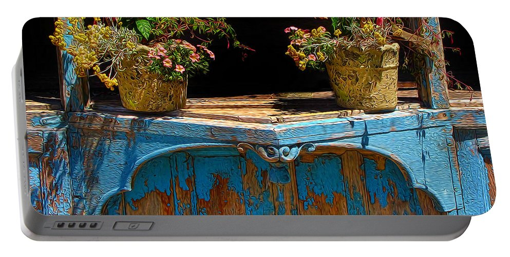 Flower Pots Portable Battery Charger featuring the photograph Pots Over Peeling Paint by Dave Mills