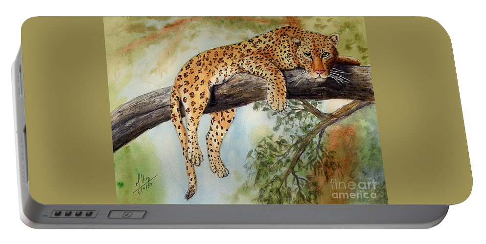 Portable Battery Charger featuring the painting Pounce by Mohamed Hirji