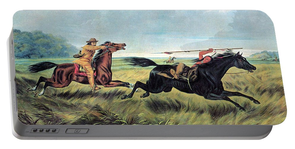 History Portable Battery Charger featuring the photograph Prairie Battle, 19th Century by Photo Researchers