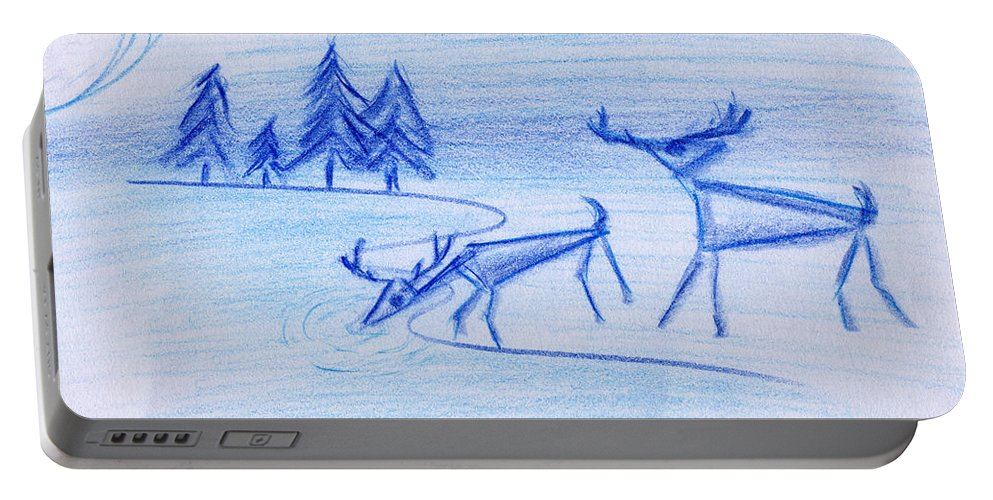 Animals Portable Battery Charger featuring the painting Prehistoric Scenic by John Bowers