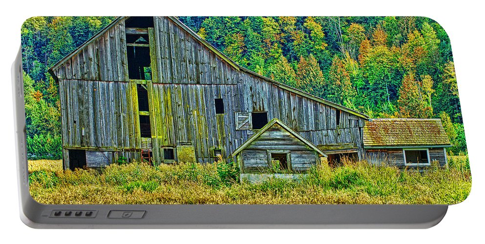 Barns Portable Battery Charger featuring the photograph Prest Road Barn Hdr by Randy Harris